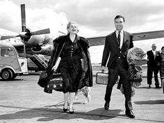 Gabor and playboy Porfirio Rubirosa in 1955 at Paris' Orly airport.