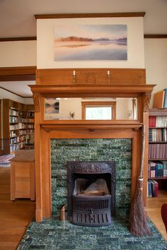 Amazing Cool Tips: Contemporary Fireplace Tile painted fireplace basements.Tv Beside Fireplace Built Ins slate fireplace layout. Wood Mantle Fireplace, Fireplace Windows, Country Fireplace, Craftsman Fireplace, Simple Fireplace, Candles In Fireplace, Fireplace Garden, Fireplace Built Ins, Victorian Fireplace