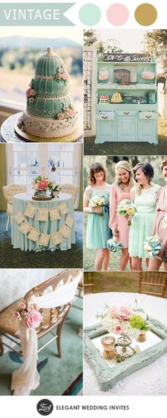 romantic mint and pink vintage wedding colors