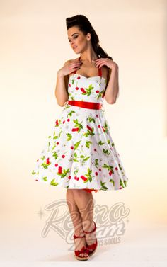 Retro Glam - Hearts and Roses Cream with Cherry and Floral Swing Dress