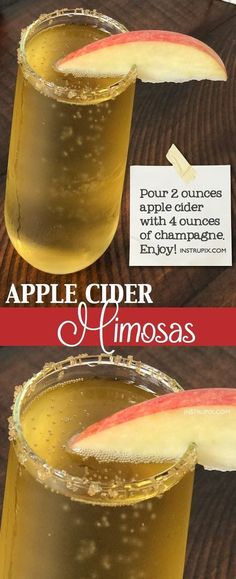 Easy Apple Cider Mimosa Recipe (made with champagne or prosecco)   6 easy holiday cocktail recipes using just 2 ingredients! All made with alcohol for adults. These drinks are perfect for Christmas or Thanksgiving, and super easy for a crowd. A variety of whiskey, vodka and wine. Instrupix.com