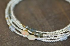 Long Seed Bead Necklace with Opal Moss by MoonLabJewelry on Etsy