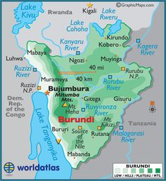 Burundi is to the east of DR Congo and South of Rwanda