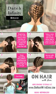 Dutch infinity braid by erin balogh go beyond the basics of braiding with detailed step by step instructions you won t find anywhere else www onhairwitherin com braidingtutorials hairtutorials hairstyles braids braiding onhairwitherin erinbalogh Baby Girl Hairstyles, Fancy Hairstyles, African Hairstyles, Braided Hairstyles, Step By Step Hairstyles, Easy Hairstyle, Hairstyle Ideas, Hair Ideas, Infinity Braid