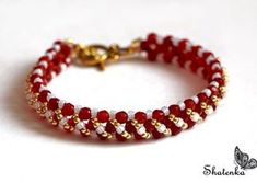 Free pattern for beaded bracelet Barberry U need: seed beads 11/0 seed beads 8/0 faceted beads 4-6 mm