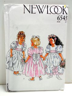 Little Girls Special Occasion Dress Pattern Un Cut by StitchKnit