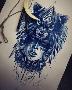 New pencil sketch .. #tattooart #sketch #pencil #ipencildraw #illustration #art #artwork #artlife #wolf #woman #spirit #boho #gypsy #topdraw #drawingsofig