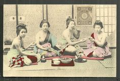 It shows a view of 4 beautiful semi nude geishas having Dinner. So it is more than one HUNDRED yearsOLD. A stamp was attached on its front side. Asian History, Women In History, Japan Landscape, Lowrider Art, Japanese Photography, Japanese Geisha, Cute Girl Face, Japanese Outfits, Art Plastique