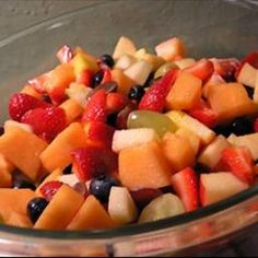 Honey Fruit Salad on BigOven: Excellent, sweet honey fruit salad.  Easy to make and a great treat for a spring or summer brunch.