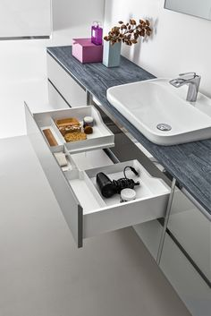 is a bathroom collection modular, linear and functional created by Arblu to represent and respond to any need for your bathroom Bathroom Sink Vanity, Bathroom Cabinets, Bathroom Furniture, Modern Bathroom, Small Bathroom, Master Bathroom, Bad Inspiration, Bathroom Inspiration, Mini Bad