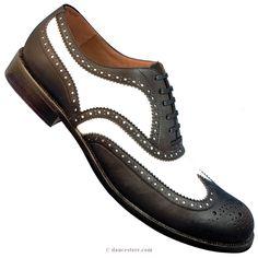Aris Allen Men's 1950s Black and White Wingtip Dance Shoe