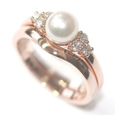 Rose Gold Pearl and Diamond Engagement Ring and Fitted Wedding Ring, Form Bespoke Jewellers, Leeds, Yorkshire Traditional Engagement Rings, Classic Engagement Rings, Engagement Ring Settings, Morganite Engagement, Diamond Engagement Rings, Diamond Bands, Diamond Wedding Bands, Rose Gold Pearl, Wedding Rings Rose Gold