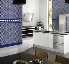 Moroccan Tiles,سرامیک_azulejo sevillano azul en cocina, azulejo 14x28