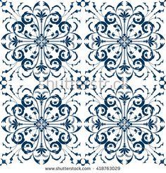 Seamless Pattern Vintage Victorian Tile. Vector illustration