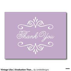 Vintage Lilac | Graduation Thank You Postcard