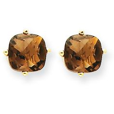 14k Yellow Gold 6mm Cushion Smokey Quartz Earrings ($78) ❤ liked on Polyvore featuring jewelry, earrings, gold, 14 karat gold jewelry, 14k earrings, gold earring set, 14k gold jewelry and smoky quartz jewelry
