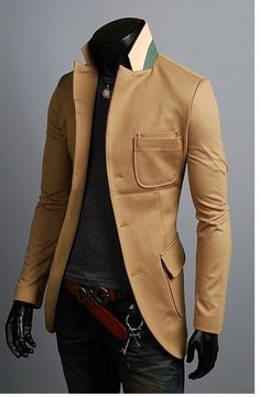 KOREAN Mens Slim Fit Premium Button Jacket Double Pocket Blazer