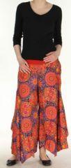 Pantalon femme imprimé coupe extra large orange Ameline sur www.akoustik-online.com.