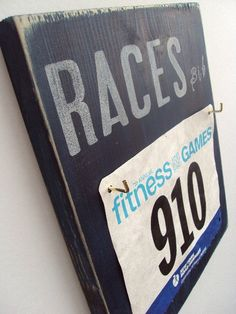 A cuter way to display all of your race bibs.
