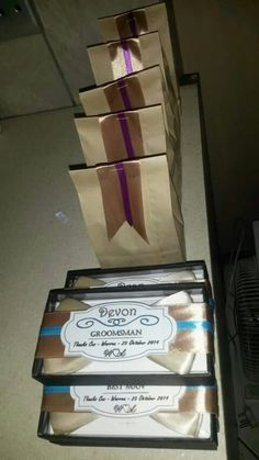 Best man and grooms man bow tie and suspenders gifts... Let's just say the men had wedgies most of the day hee hee