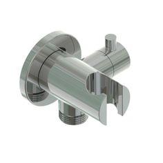 APM - Presa acqua con supporto doccetta, rubinetto di arresto e rosetta rotonda in acciaio inox