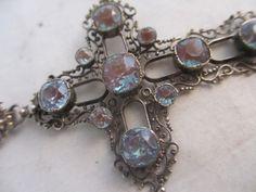 Antique Art Deco Saphiret Glass & Paste Pendant cross with articulated bale 9 cm