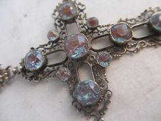 Antique Art Deco Saphiret Glass & Paste Pendant cross with articulated bale 9 cm