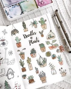 Bullet journal potted plants doodles, bullet journal drawing ideas. | @couleursduvent