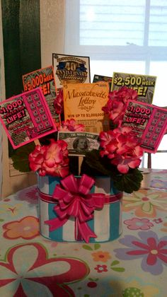 Lottery ticket raffle or silent auction basket - Cute idea for school fundraiser. Lottery ticket raffle or silent auction basket – Cute idea for school fundraiser or charity aucti Fundraiser Baskets, Raffle Baskets, Gift Baskets, Fundraiser Raffle Ideas, Craft Gifts, Diy Gifts, Chinese Auction, Holiday Gifts, Christmas Gifts