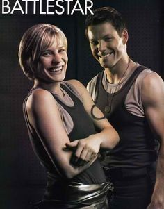 Katee Sackhoff and Jamie Bamber. Oh how I love this show. Jamie Bamber, Sci Fi Series, Tv Series, Battlestar Galactica Movie, Kampfstern Galactica, Katee Sackhoff, Star Trek Enterprise, Firefly Serenity, Stargate Atlantis