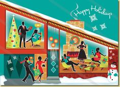 Mid Century Modern House Holiday Cards | Pkg. of 8