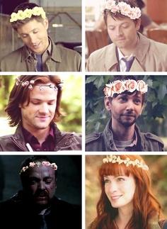 Dean, Castiel, Sam, Garth, Crowley, and Charlie in Flower Crowns