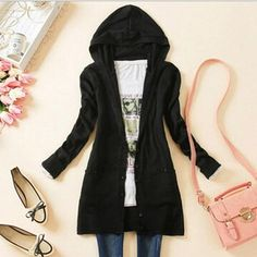 David Salc Women Hooded single-breasted cardigans long sleeve big pockets v neck sweater Casual Loose Knitted cardigan Female