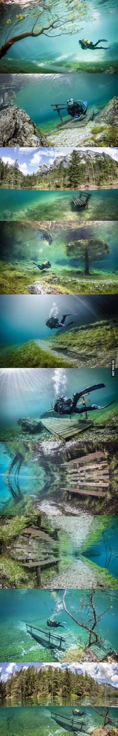 Underwater park in Austria. This is the Grüner See (Green Lake) near the town of Tragöß, Austria. During winter, the lake is 1-2 meters deep, but fills to a depth of 12 meters when spring introduces snowmelt.