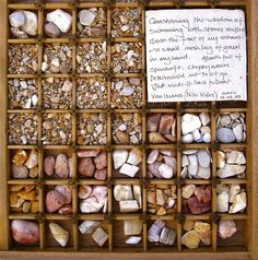 Sue Lawty's stone storage chest of stones from Nisi Vidos (Vido Island) Corfu 2003. Love the note.  Makes this an historical keepsake.