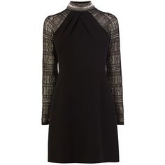 Karen Millen Diamante Detail Dress (£210) ❤ liked on Polyvore featuring dresses, black, women, lacy black dress, short black cocktail dresses, short dresses, black lace cocktail dress and lace cocktail dress