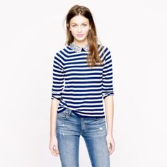 J. Crew Liberty-collar merino sweater in stripe, Item #51372, $125