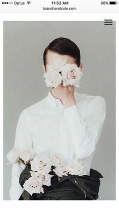 Flowers editorial male model portrait studio bride and groom mock shoot