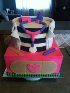 Doc McStuffins cake Covered in buttercream and decorated with fondant accents.
