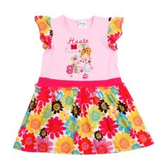 Fast free shipping H3752P # pink children clothing embroidery, crochet flower girls cotton dress