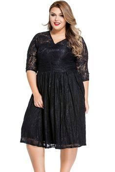 Black Lace V Neck Curvy Skater Dress
