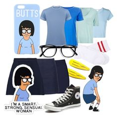 """Tina Belcher from Bobs Burgers"" by amywillson on Polyvore featuring RE/DONE, Boohoo, Topshop, Diverso, Related, Être Cécile and Converse"