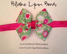 Lime Green Pink and White Double Bow Tie Bow by BlakeLynnBows