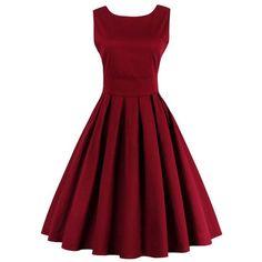 50s Burgundy Pure Color Tie-Waist Vintage Dress (51 BAM) ❤ liked on Polyvore featuring dresses, vintage day dress, burgundy dress, tie waist dress, red dress and vintage dresses