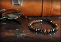 Bracelet tressé bois et pierre d'hématite Réf: BN-258 | Etsy Bracelets Fins, Beaded Bracelets, Etsy, Jewelry, Bead, Sliding Knot, Braided Bracelets, Fight For, Braid