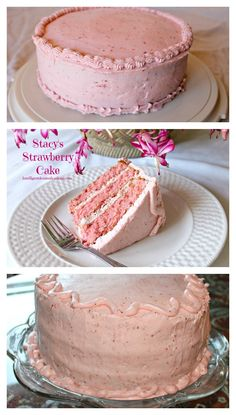 My husband makes this fabulous Strawberry cake with Strawberry Butter Cream frosting for our family. It is the most requested cake in our family. Cake Stacy's Strawberry Cake with Strawberry Butter Cream Frosting - Intelligent Domestications Homemade Strawberry Cake, Strawberry Cake Recipes, Strawberry Sweets, Food Cakes, Cupcake Cakes, Cupcakes, Sweets Cake, Strawberry Buttercream Frosting, Salty Cake