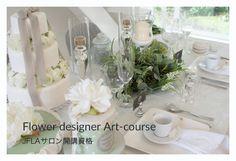 Table Setting.Table Coordinate Idea.Artificial Flower.Cake.Green wreathe.Green flowers.JFLAデザイナーズ資格テーブルコーディネートクラス♡テーブルセッティング