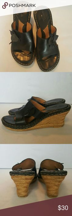 "Born Black Leather Wedge Sandals A very comfortable sandal with padded insoles. 3"" wedge heels. Good pre loved condition. Born Shoes Wedges"