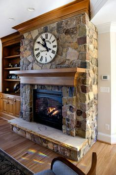 Brick Fireplace Remodel, Cabin Fireplace, Rustic Fireplaces, Farmhouse Fireplace, Modern Fireplace, Fireplace Design, Fireplace Mantels, Stone Fireplaces, Stone Fireplace Pictures