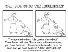Jesus & Doubting Thomas: Spot the difference coloring page & worksheet.